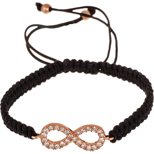 Women's Rose Gold over Sterling Silver Infinity Adjustable Black Macrame Bracelet, 9""