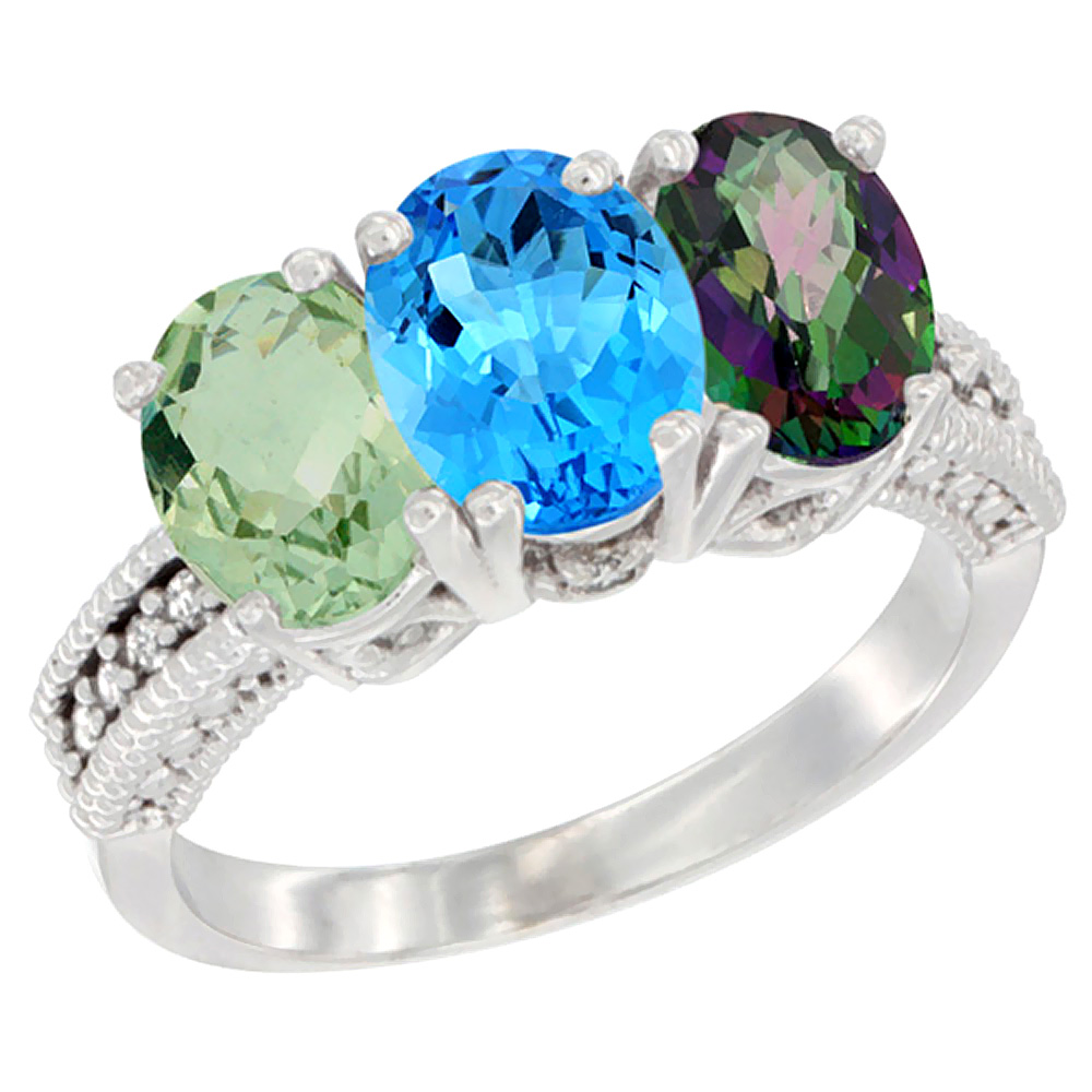 10K White Gold Natural Green Amethyst, Swiss Blue Topaz & Mystic Topaz Ring 3-Stone Oval 7x5 mm Diamond Accent, sizes 5... by WorldJewels