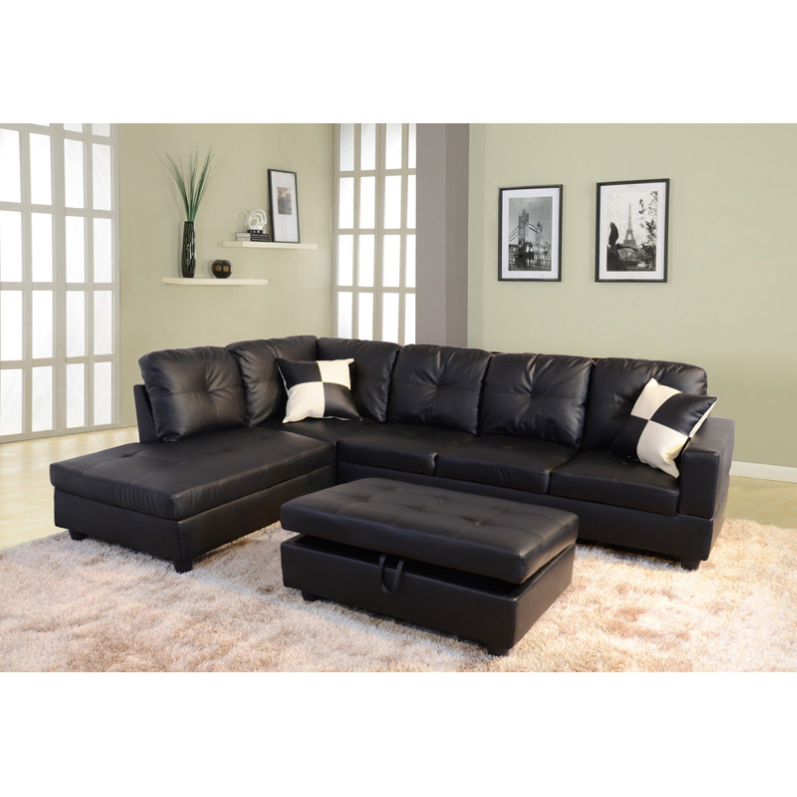 Beverly Fine Furniture 3 Piece Faux Leather Sectional Sofa Set With Storage  Ottoman