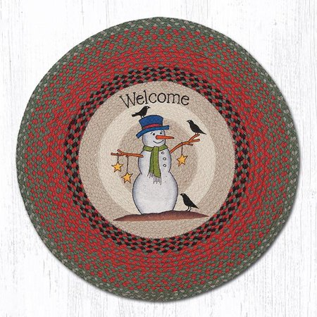 "Earth Rugs RP-25 Snowman Crow & Stars Round Patch 27"" x 27"""