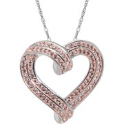 """Brilliance Fine Jewelry Sterling Silver Heart Pendant made with Crystals, 18"""" Necklace"""