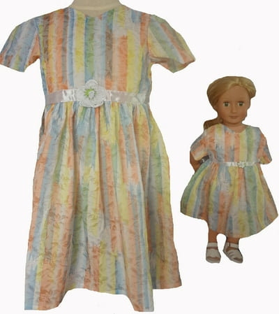 Size 8 Matching Girl And Doll Pastel Princess Pretty Dresses