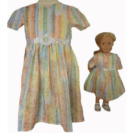 Size 8 Matching Girl And Doll Pastel Princess Pretty Dresses (Pastel Princess)