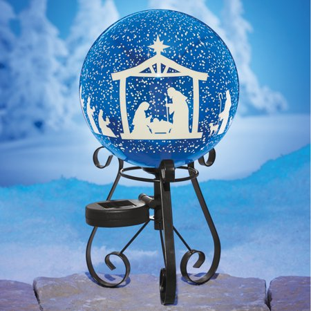 Solar Nativity Scene Gazing Ball on Iron Black Stand ()