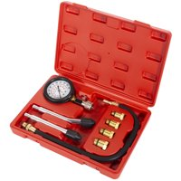 Stark 8pcs Cylinder Compression Tester Kit Gas Engine Leakage Diagnostic 0-300 PSI Dual Scale Pressure Gauge Extension Hose Spark Plug Adapters