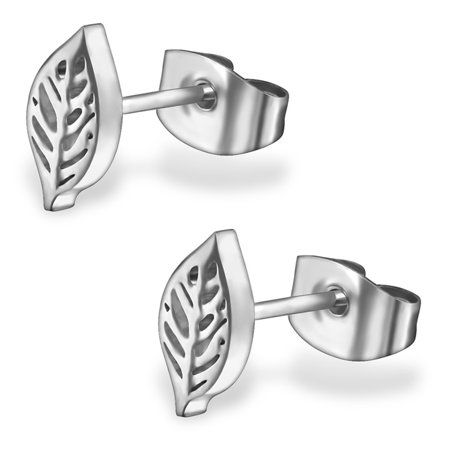 Stainless Steel Tiny Leaf Stud Post Earrings ()