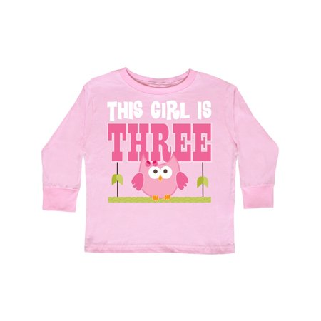 3rd Long Sleeve (3rd Birthday Owl 3 Year Old Party Photo Toddler Long Sleeve T-Shirt)