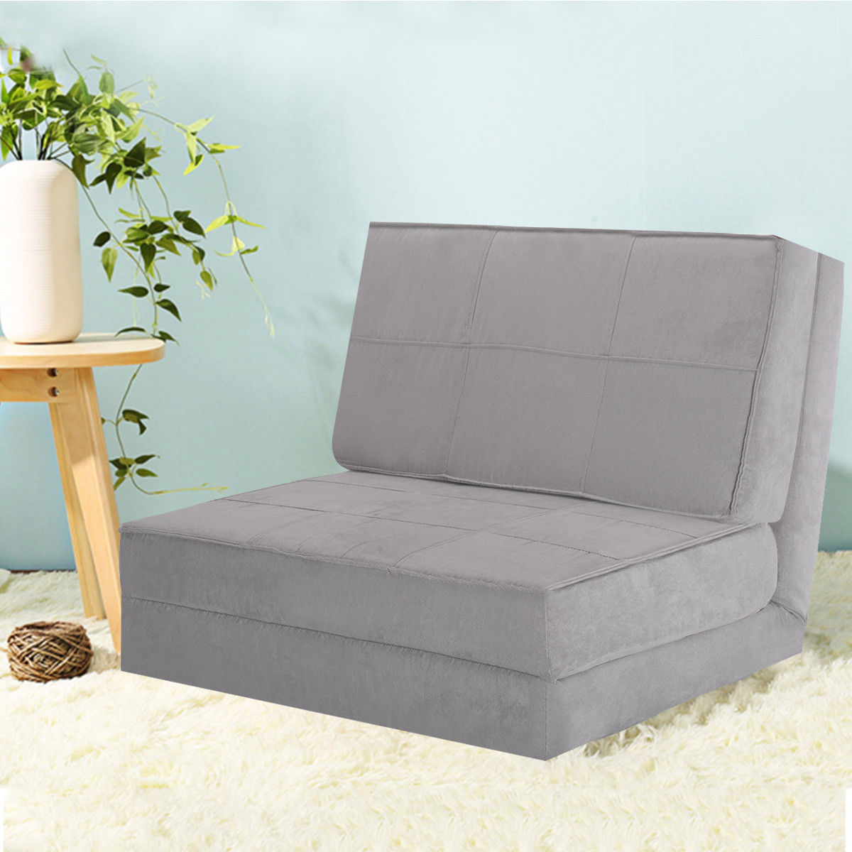 Costway Fold Down Chair Flip Out Lounger Convertible Sleeper Bed Couch Game Dorm Guest (Gray  sc 1 st  Walmart & Twin Sleeper Chairs