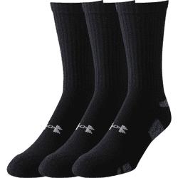 Under Armour Mens HeatGear Crew Three Pack Socks Black U252YLBLK