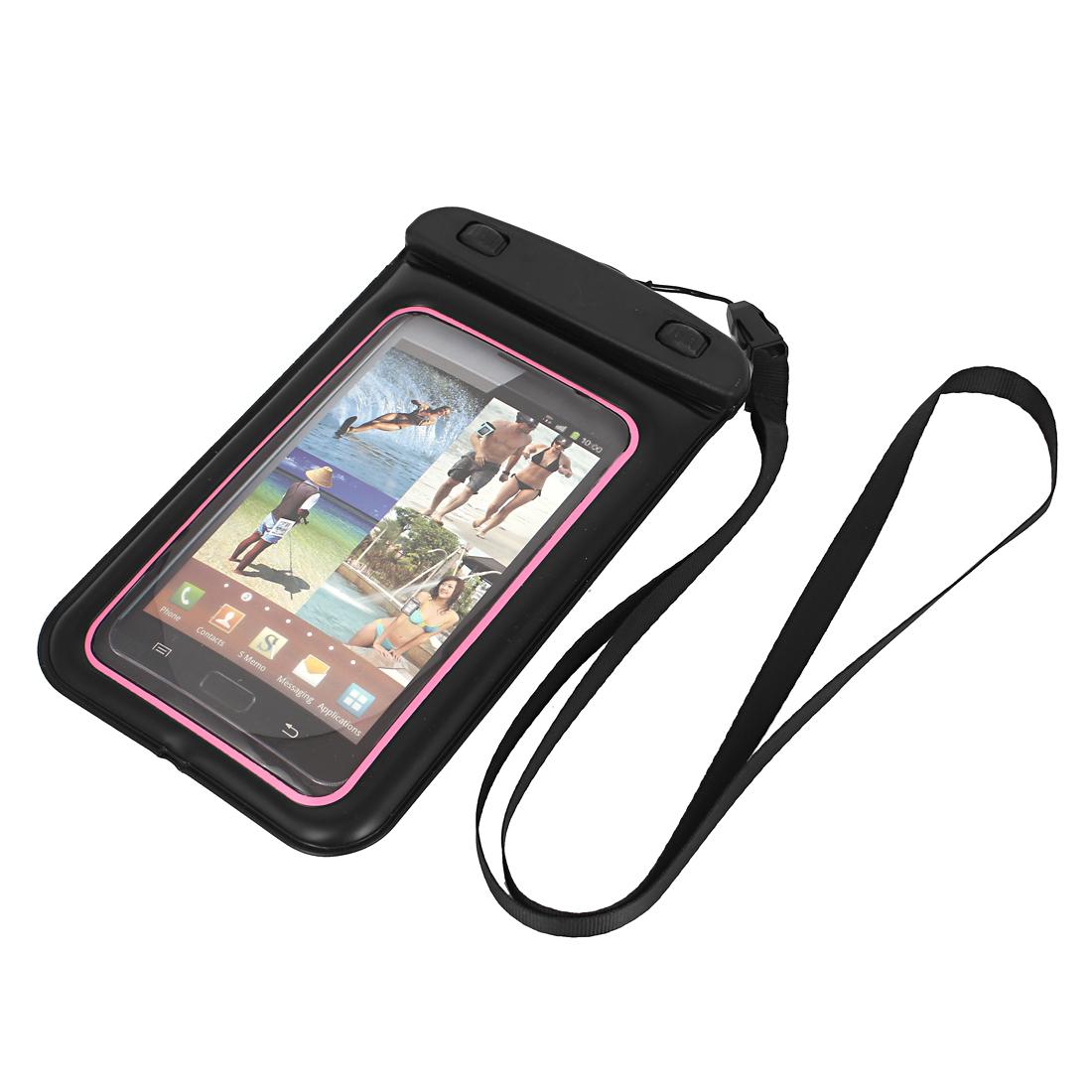 Underwater Waterproof Case Dry Bag Cover Pouch Black Pink for 5.5  Cell Phone
