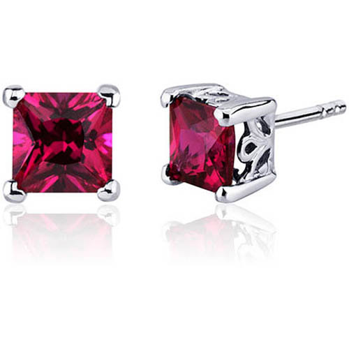 Oravo 3.00 Carat T.G.W. Princess-Cut Created Ruby Rhodium over Sterling Silver Stud Earrings