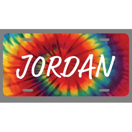 Jordan Name Tie Dye Style License Plate Tag Vanity Novelty Metal | UV Printed Metal | 6-Inches By 12-Inches | Car Truck RV Trailer Wall Shop Man Cave | NP1418 (Jordan License Plate)