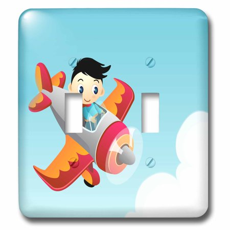3dRose Cute Boy In A Flying Plane Design - Double Toggle