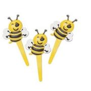 Bumble Bee Yellow Plastic Cupcake Picks  12 Pack