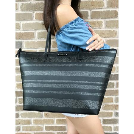 Kate Spade Haven Lane Large Hani Tote Glitter Stripe Black Silver Handbag