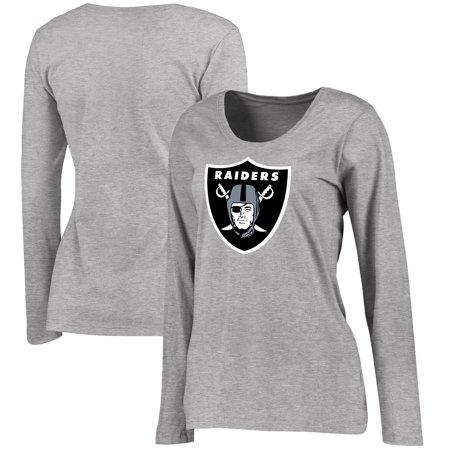 watch ddda8 826d6 Oakland Raiders NFL Pro Line Women's Plus Size Primary Logo Long Sleeve  T-Shirt - Heathered Gray