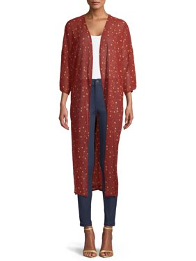 Time and Tru Rust Floral Long Kimono