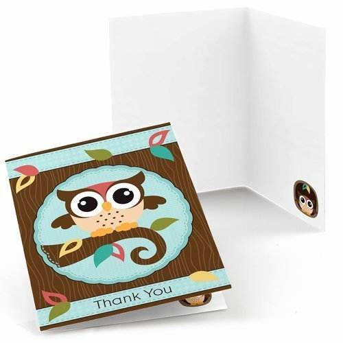 Owl - Baby Shower or Birthday Party Thank You Cards (8 count)