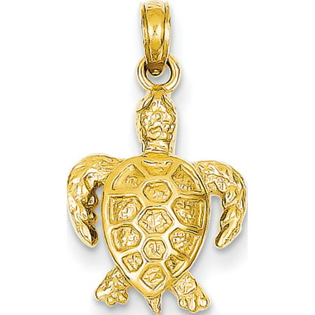 Leslies Fine Jewelry Designer 14k Yellow Gold Sea Turtle (12x21mm) Pendant Gift