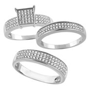 sterling silver micro pave cubic zirconia trio wedding ring set for 5 mm him hers - Wedding Ring Trios