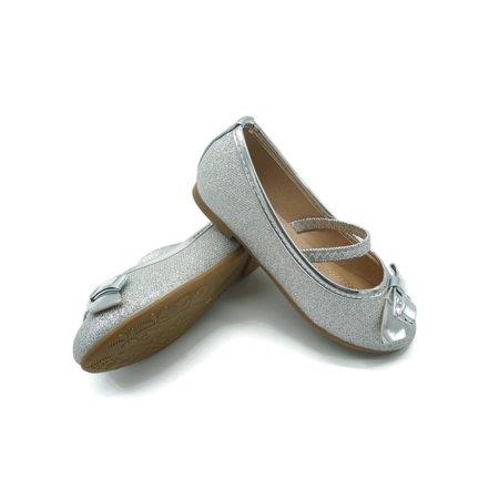 Pipiolo Little Girls Silver Glitter Elastic Strap Mary Jane -