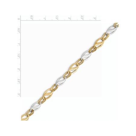 14K deux tons d'or poli et diamant Bracelet Cut - image 1 de 2