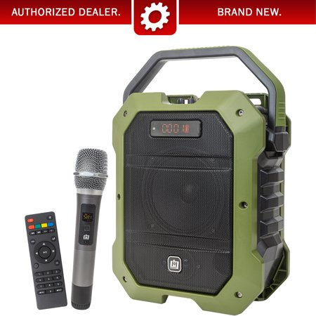 Deco Gear Portable Wireless PA Speaker System with Wireless Microphone - 80W Power and Rechargeable 5000 mAh Battery - Built in Equalizer , Radio , Aux and USB ports - comes with Carrying Strap