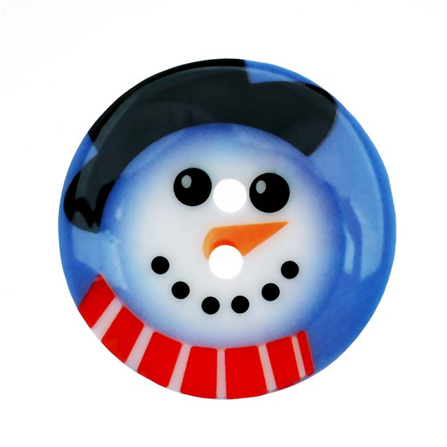 Plastic Christmas Themed Button Snowman With Hat And Scarf 1 1/8 Inch (1)