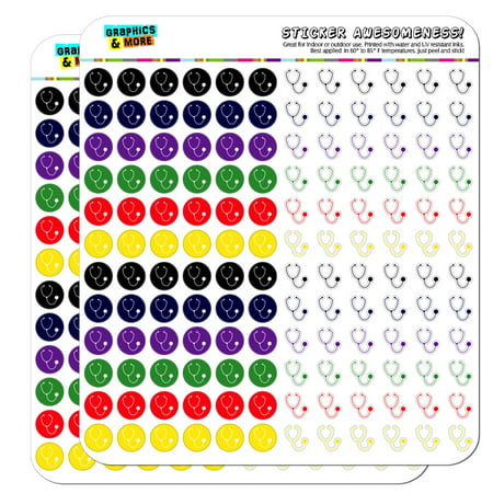 Stethoscope Medical Doctor Appointment Dots Planner Scrapbooking Crafting Stickers - Multi Color - Opaque](Medical Stickers)