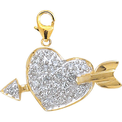 EZ Charms 14K Yellow Gold Diamond Heart with Arrow Charm