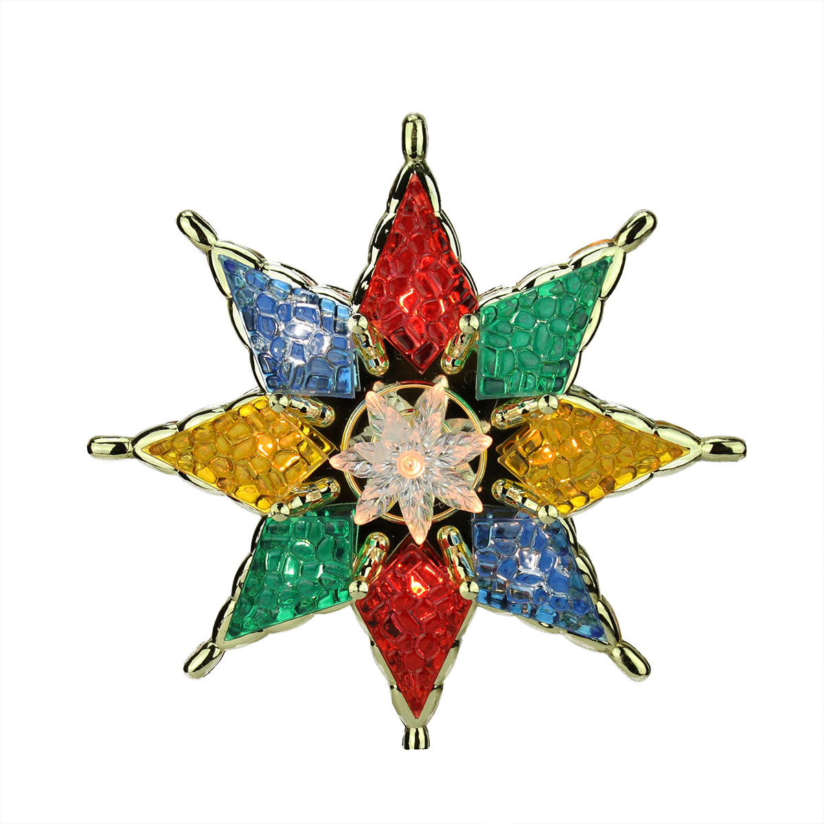 "7.75"" Lighted Multi-Color Mosiac Style Star Christmas Tree Topper - Clear Lights"