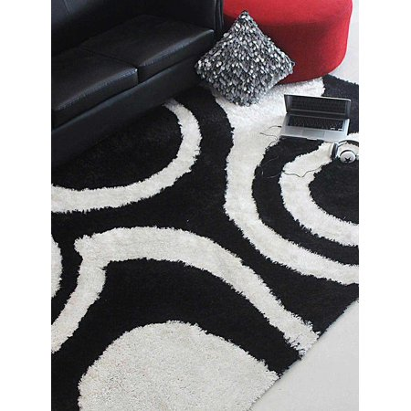 Rugsotic Carpets Hand Tufted Polyester 8 X10 Area Rug Contemporary Black White K00077
