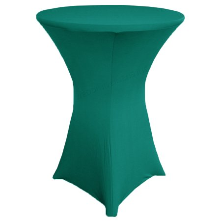 Wedding Linens Inc. Wholesale (200 GSM) 30 in x 42 in Cocktail Highboy Spandex Stretch Fitted Round Table Cover Tablecloths Oasis - Fitted Table Covers