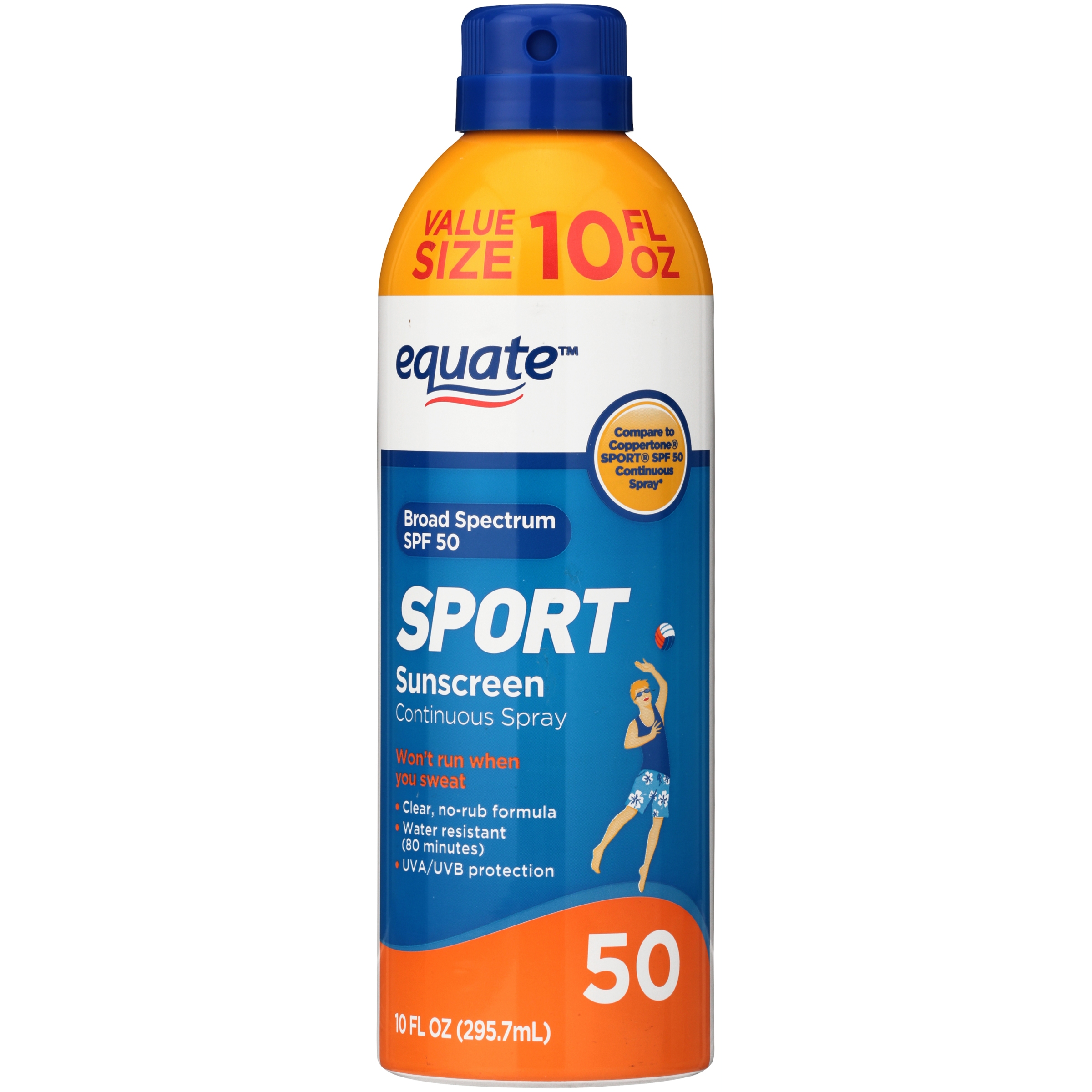 Equate Sport Broad Spectrum Sunscreen Continuous Spray, SPF 50, 10 oz