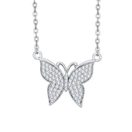 9897f87a8126d Prong Set Diamond Butterfly Pendant Necklace in 14K White Gold (3/8 cttw,  G-H, I2-I3)