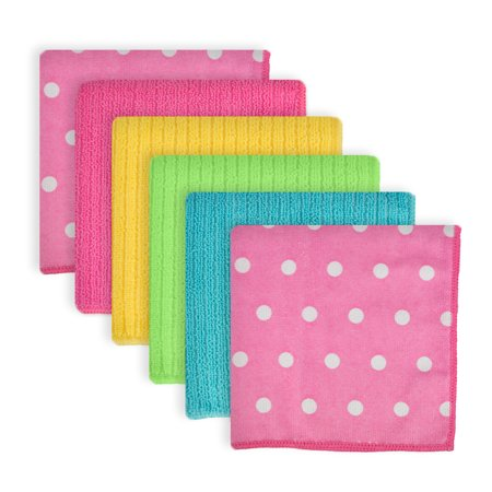 DII Microfiber Multi-Purpose Cleaning Cloths Perfect for Kitchens, Dishes, Car, Dusting, Drying Rags, 12x12, Set of 6 - Pink