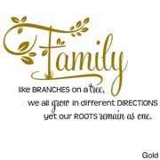 "'Family, Like Branches on a Tree..."" Two-tone Vinyl Wall Decal Gold/Black"