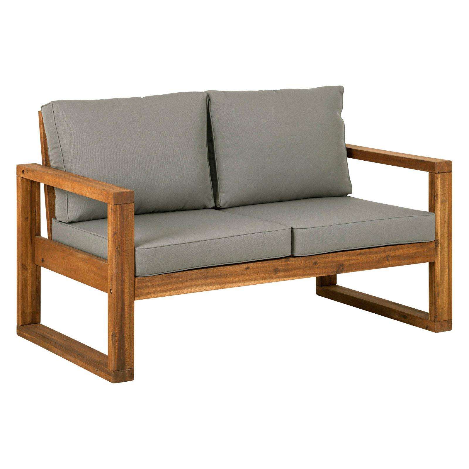Walker Edison Open Side Patio Loveseat With Cushions