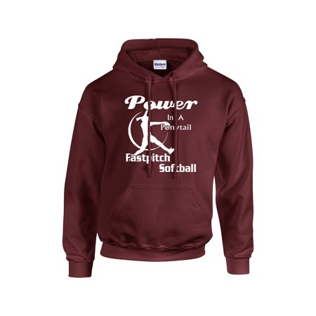 Softball Hooded Sweatshirt Power In A Ponytail