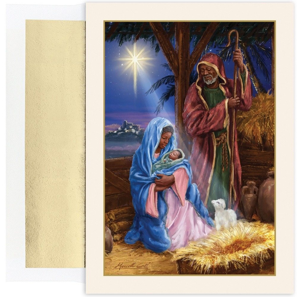 JAM Paper Christmas Card Set, Holy Family In Stable Holiday Cards, 18/pack