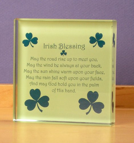 Irish Paperweight with Shamrocks and Blessing