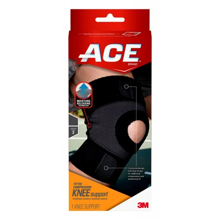 ACE Brand Moisture Control Knee Support, Large, Black/Gray, - Sport Moisture Control Knee Support