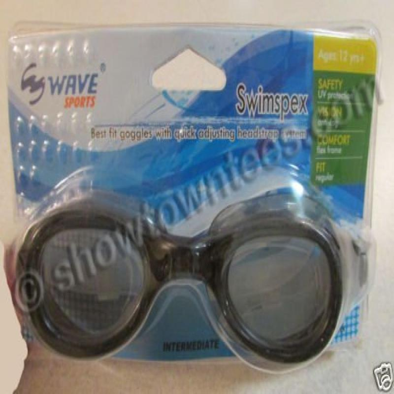 Wave Sports Swimspex BLACK Swimming Goggles Kids Youth Adults 12+ by