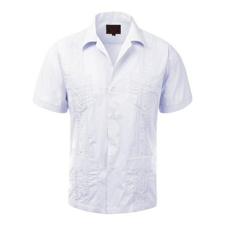 Guayabera Men's Cuban Beach Wedding Short Sleeve Button-Up Casual Dress (Black And White Plaid Button Up Shirt)