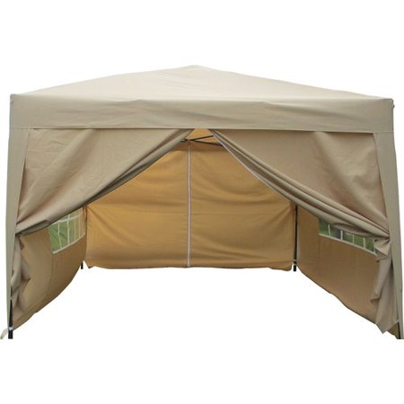 10' x 10' Ez Pop Up 4 Walls Canopy Party Tent Heavy Duty, Tan