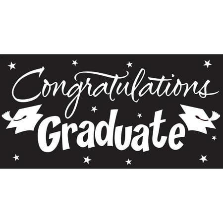 Black Graduation Garage Decoration, 5ft x 10ft - Black Cat Decorations