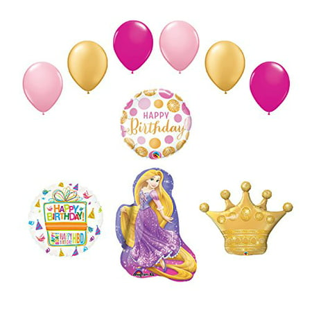10 pc Rapunzel Tangled Crown Princess Balloon Birthday Party Supplies and Decorations](Tangled Decorations)