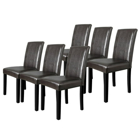 ZENY Kitchen Dining Chairs - Set of Six Suit to Nurclear Family Waterproof Brown PU Leather Soft Cushion Armless Parson Chairs Parsons Leather Chairs
