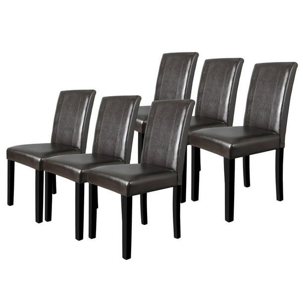 ZENY Kitchen Dining Chairs - Set of Six Suit to Nurclear Family Waterproof Brown PU Leather Soft Cushion Armless Parson Chairs