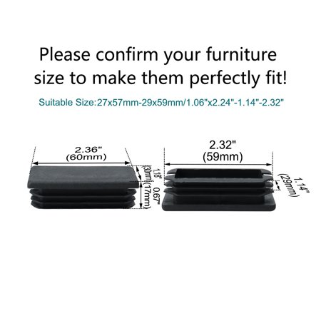 30 x 60mm Plastic Rectangle Rib Tube Inserts Pipe Tubing End Cover Caps Furniture Glide Floor Table Legs Protector Black - image 1 de 7